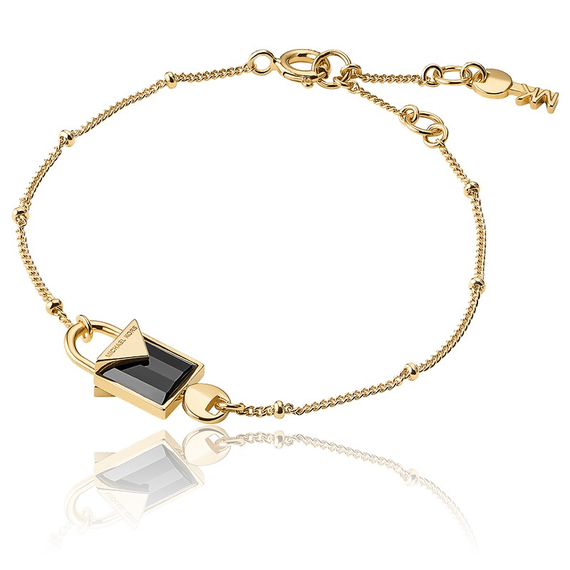 Bracelet Cadenas Onyx & Plaqué Or Jaune 14K
