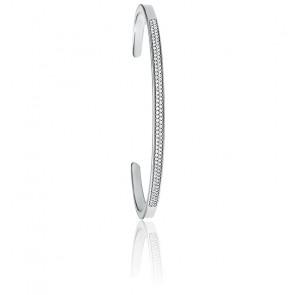 Bracelet Manchette Pavé Plaqué Rhodium