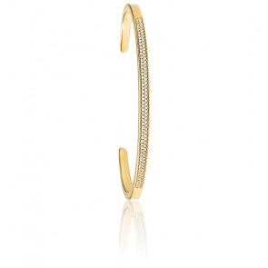 Bracelet Manchette Pavé Plaqué Or Jaune 14K