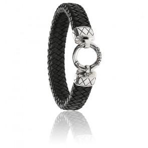 Bracelet tresse cuir & argent