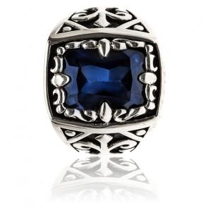Chevalière zircon saphir bleu & argent 14 x 18 mm