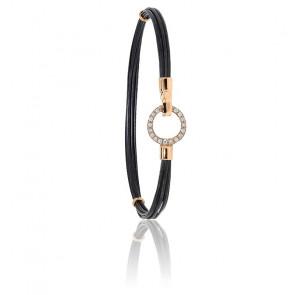 Bracelet poils d'éléphant EMS or rose & cercle diamants