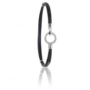 Bracelet poils d'éléphant EMS or blanc & cercle diamants