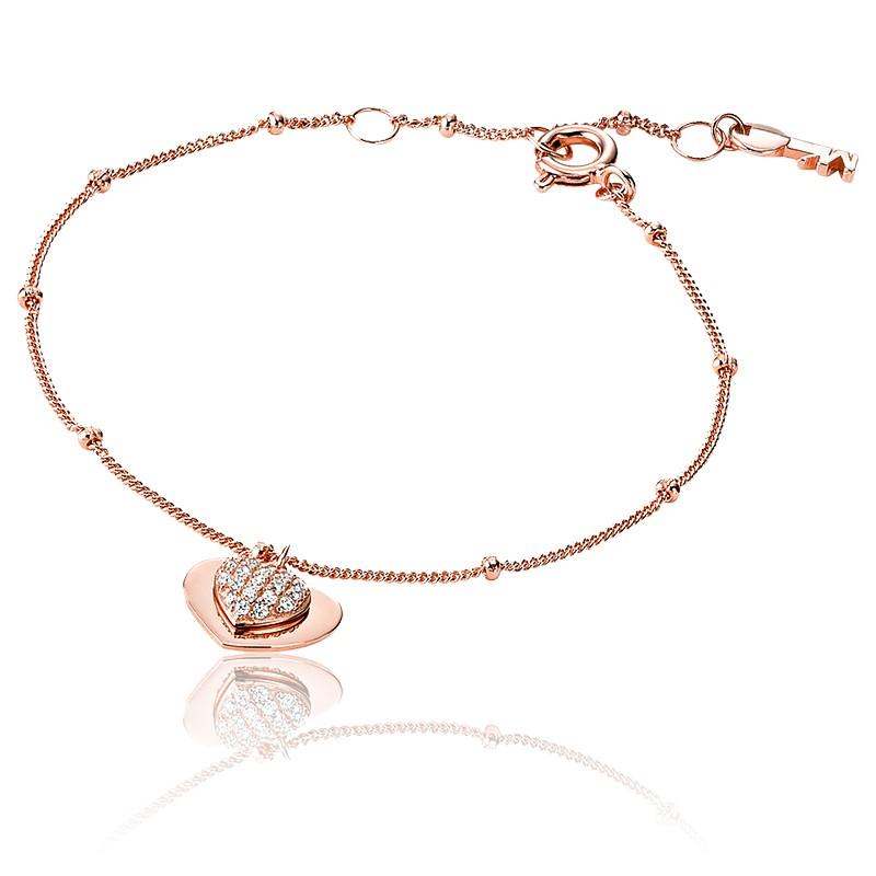 Bracelet Love, Coeur Pavé & Plaqué Or Rose 14K