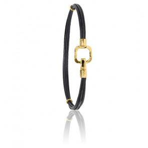Bracelet poils d'éléphant EMS carré or jaune