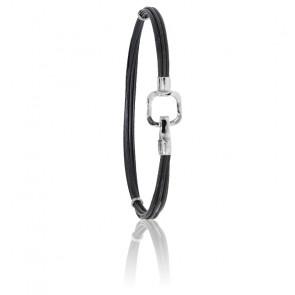 Bracelet poils d'éléphant EMS carré or blanc