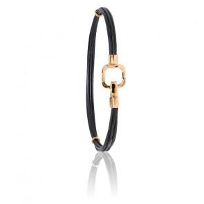 Bracelet poils d'éléphant EMS carré & or rose