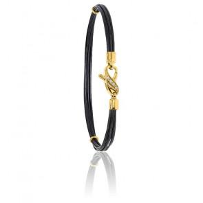 Bracelet poils d'éléphant EMS diamants & or jaune