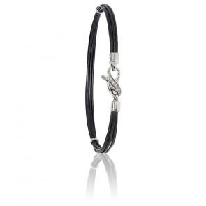 Bracelet poils d'éléphant EMS diamants & or blanc
