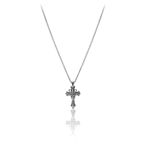 Collier devil cross argent