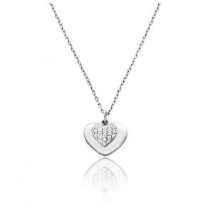 Collier Love coeur pavé & plaqué rhodium