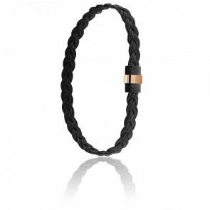 Bracelet 607N Poils Eléphant Tressé, Acier & Or Rose 18K