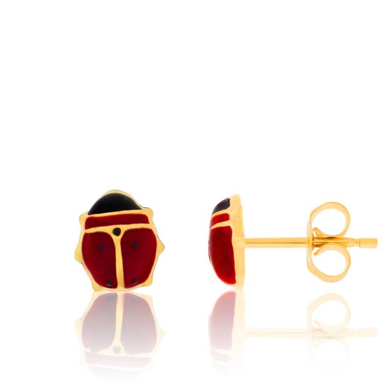 boucles d 39 oreilles coccinelles en or jaune bambins ocarat. Black Bedroom Furniture Sets. Home Design Ideas