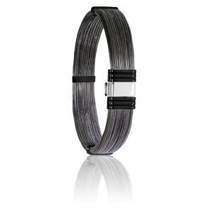 Bracelet 699N poils d'éléphant, acier noir & or blanc