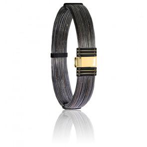 Bracelet 701N Poils Éléphant, Acier & Or Jaune 18K