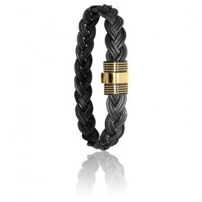 Bracelet 601N poils d'éléphant tressés acier & or jaune