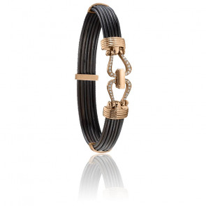 Bracelet 730D poils d'éléphant diamants & or rose