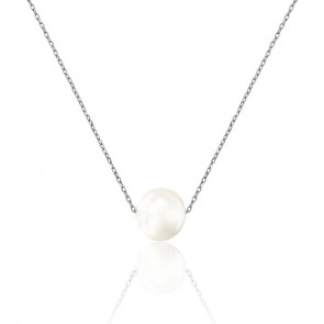 Collier perle Lili, or blanc 18K