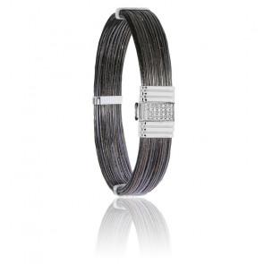 Bracelet 696D poils d'éléphant, diamants & or blanc
