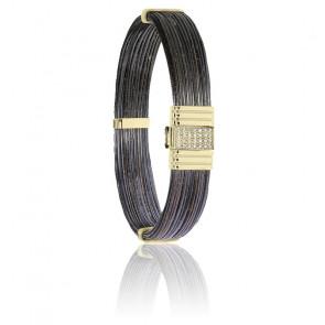 Bracelet 696D poils d'éléphant, diamants & or jaune