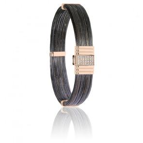Bracelet 696D poils d'éléphant, diamants & or rose