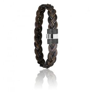 Bracelet 607N poils d'éléphant tressés acier noir & or blanc