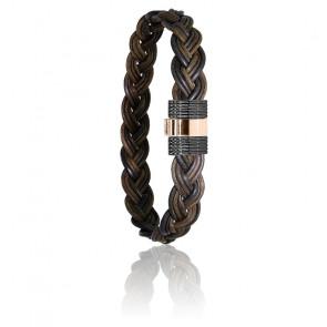 Bracelet 607N poils d'éléphant tressés acier noir & or rose