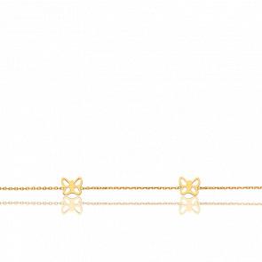 Bracelet Quatre Papillons Ajourés Or Jaune 18K