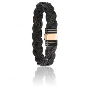 Bracelet 701N poils d'éléphant tressés acier noir & or rose