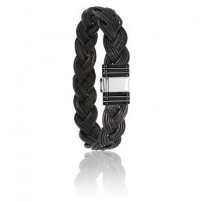 Bracelet 701N poils d'éléphant tressés acier noir & or blanc