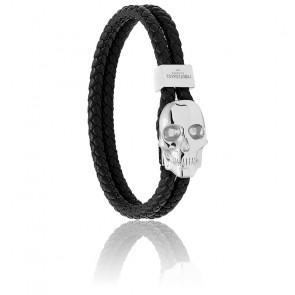Bracelet Atticus skull hook, cuir & argent