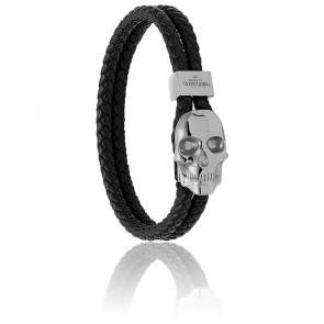 Bracelet Atticus skull hook cuir & gunmetal