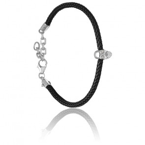 Bracelet Atticus Skull Pará Rubber Cord, cristal Swarovski & argent