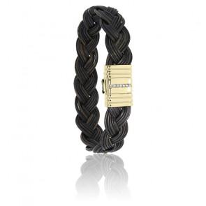 Bracelet 696 Poils Éléphant Tressés, Diamants & Or Jaune 18K