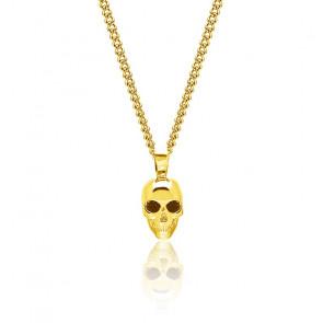 Collier Atticus skull, argent plaqué or jaune