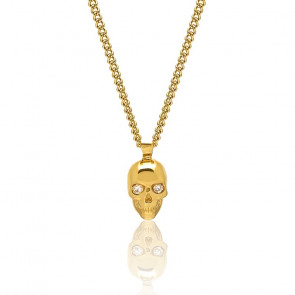 Collier Atticus skull, cristal Swarovski, argent plaqué or jaune