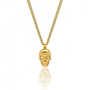 Collier tête de mort Atticus, cristal Swarovski, argent plaqué or jaune