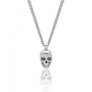 Collier tête de mort Atticus, cristal Swarovski, argent