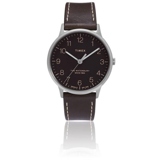 Montre Waterbury Men's 40mm Black Dial Leather TW2T27700