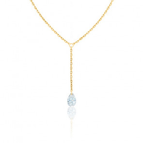 Collier Diamant Percé Poire F/VS2 Drop & or jaune 18K