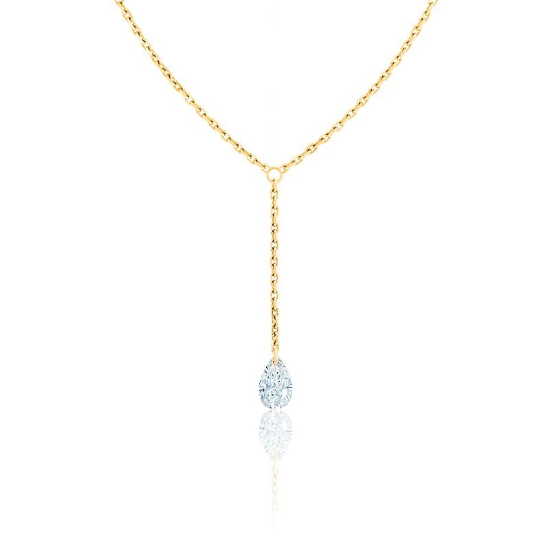 Collier Diamant Percé Poire F/VS2 Drop & or jaune 18K