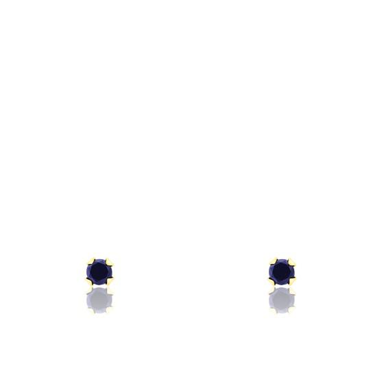 Puces d'oreilles saphir & or jaune 18K