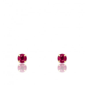 Boucles d'oreilles rubis & or jaune 18K