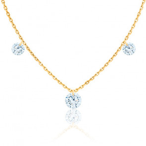 Collier diamants percés brillant 0.20 F/VS2 Trio & or jaune 18K