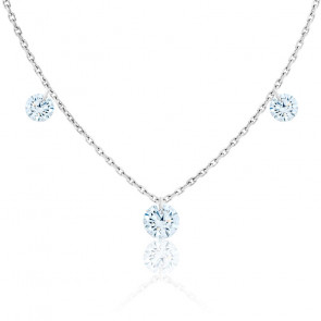 Collier diamants percés brillant 0.20 F/VS2 Trio & or blanc 18K