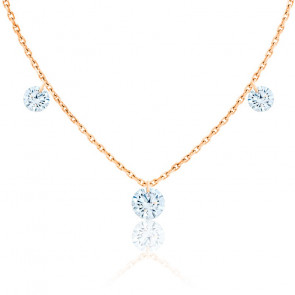 Collier diamants percés brillant 0.20 F/VS2 Trio & or rose 18K