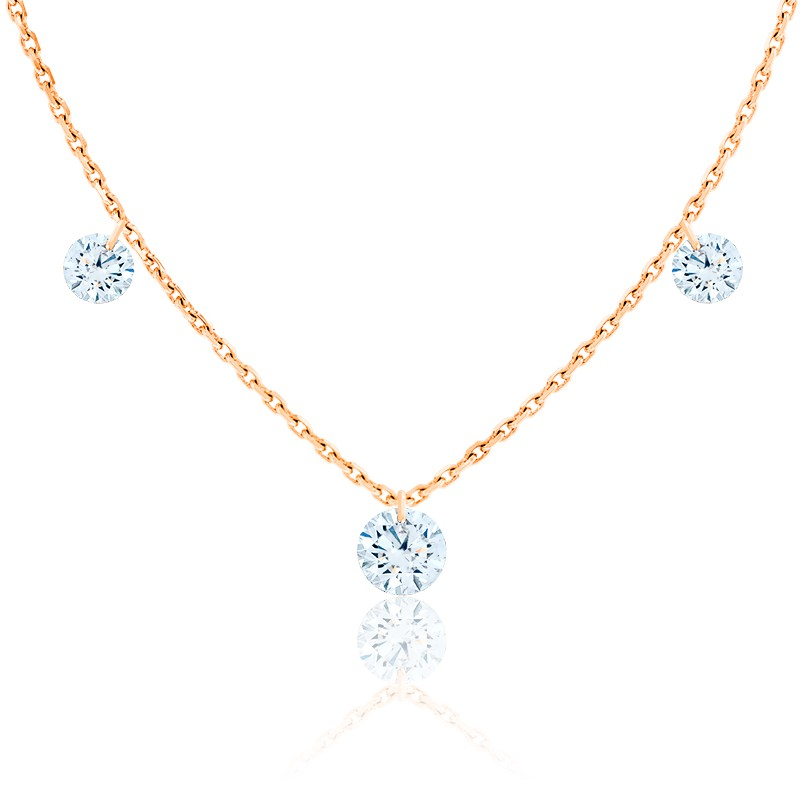 Collier diamants percés brillant 0.20 F/VS2 Trio & or rose 18K