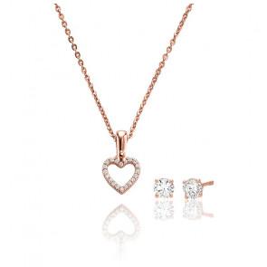 Collier Love coeur pavé & clous d'oreilles zircons, plaqué or rose 14k