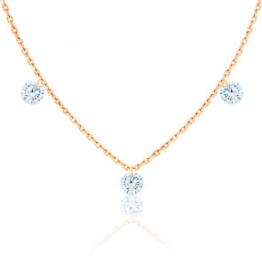 Collier diamants percés brillant F/VS2 Trio & or rose 18K