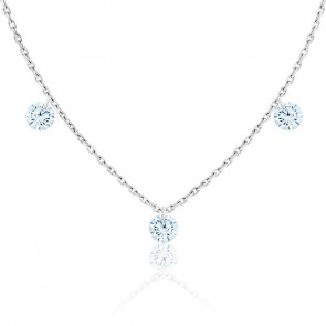 Collier diamants percés brillant F/VS2 Trio & or blanc 18K